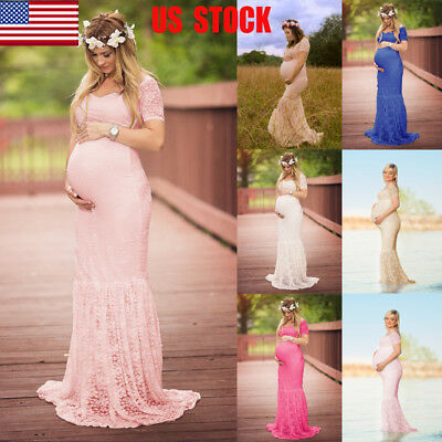 Pregnant Womens Long Maxi Gown Photography Photo Shoot Fancy Maternity Dress USA