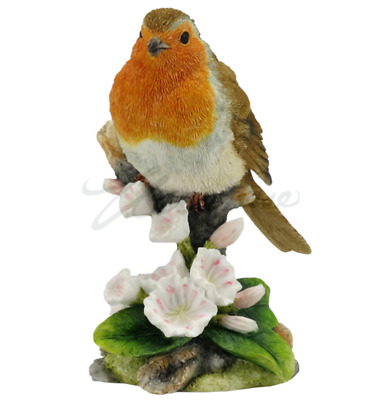 Robin Bird Sculpture On Branch Statue Figure - HOME DECOR