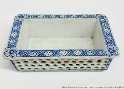 Antique Chinese Qing Or Early Dutch Delft Blue White Porcelain Pierced Bowl Wow