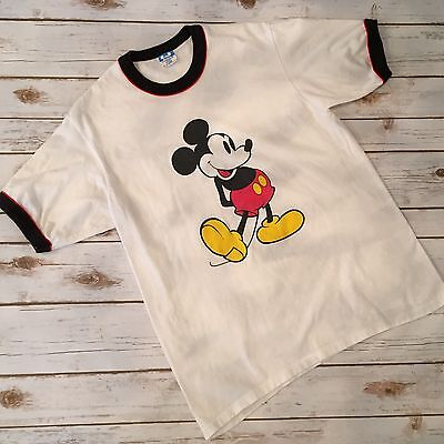 Vintage Mickey Mouse Classic White Ringer T Shirt Walt Disney Made in USA