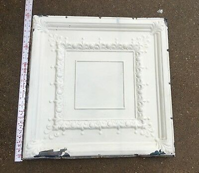 "old Antique Shabby Chic 24"" 2' Tin Metal Square Ceiling Tile Panel flor de lis"