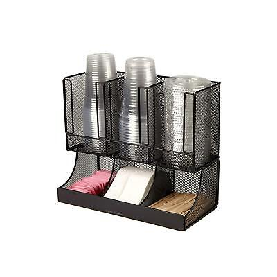 Coffee Cup and Lid Orginizer 4 Section Rack Office Home Dispenser Compact New