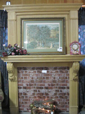 Large Two Piece Fireplace Mantel Handcrafted Bare Wood Unfinish