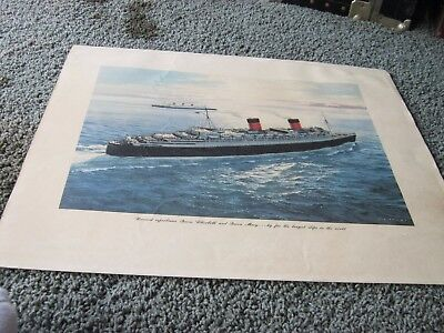 C.G. EVERS lithographed print: CUNARD SUPERLINERS QUEEN ELIZABETH & QUEEN MARY
