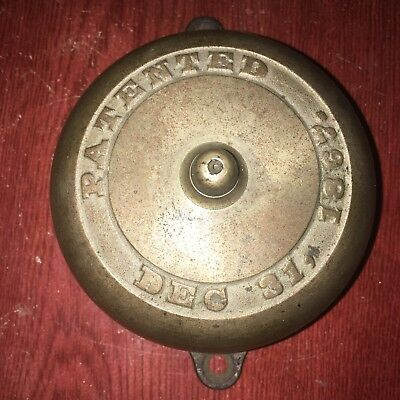 Antique Mechanical Brass Door Bell Patented Dec. 31, 1867