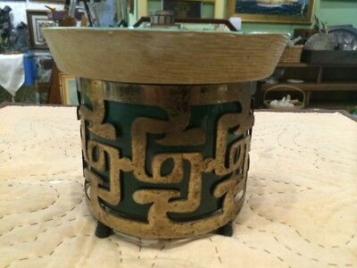 Vintage Mid Century Modern Pottery Brass Japanese Footed Wall Pocket Planter