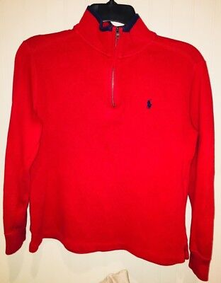 Polo Ralph Lauren Boys Red Mock Neck Knit Sweater Size M (10-12)