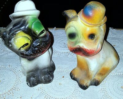 2 Chalkware Carnival Prize Dogs W Hats-1920'-30's-A Great Pair!
