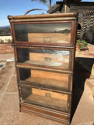 Antique Globe Wernicke Stacking Oak Lawyers Bookcase