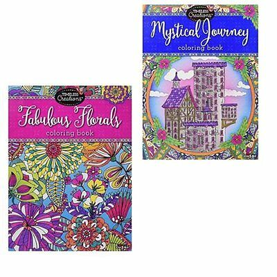 (2) Adult Coloring Books 128 Pages Timeless Creations Mystical Journey Florals
