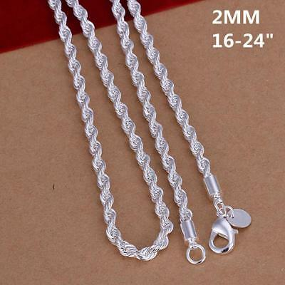 "16"" - 24"" Mens Womens 925 Sterling Silver 2mm Twisted Rope Chain Necklace #N152"
