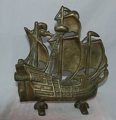 Vintage Solid Brass Spanish Galleon Nautical Sailing Ship Boat Doorstop