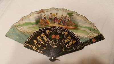 Antique 19th Century Hand Painted and Gilded Hand Fan