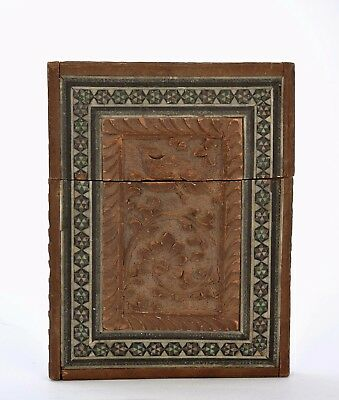 Old Indian India Anglo Inlaid Sandalwood Wood Carved Carving Card Case Box