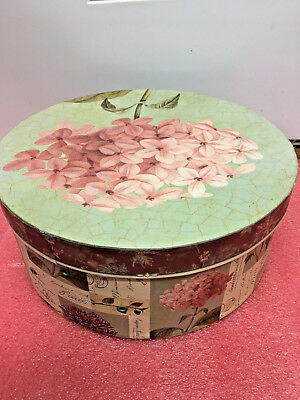 "BS8 cardboard beautiful wigbox wig box flowered 5"" H x 12"" dia other uses too"