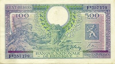 Belgium ~ 500 Francs 1943 ~ P-124 ~ Very Scarce World War Ii Type Nice Grade