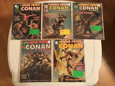 The Savage Sword Of Conan #1-5 Mid Grade 1974 Series