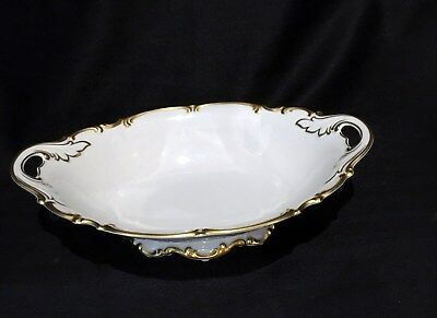 Hutschenreuther Footed Open Seving Bowl Open Handles White With Gold Rare Find
