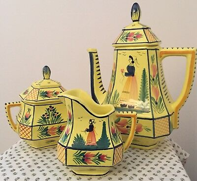 Henriot Quimper Soleil Yellow Tea Set