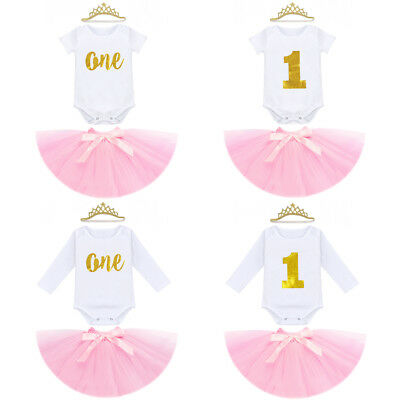 Baby Girls 1st Birthday Party Romper Dress 3PCS Outfits Tulle Skirt Headband Set
