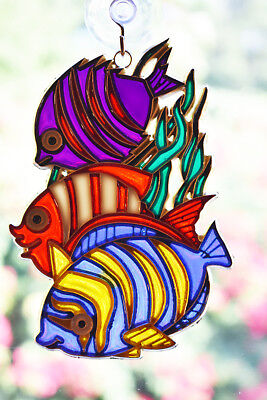 "Three Fish Sun Catcher Stained Glass Colorful 5"" x 3 1/2"" w. Suction Cup & Hook."