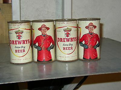 4 Pak Drewry Mountie Flat top beer cans Empty O/G   S. Bend