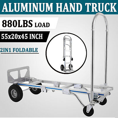 2in1 Aluminum Hand Truck Cart Convertible Warehouse Trolley 4 Wheels Foldable