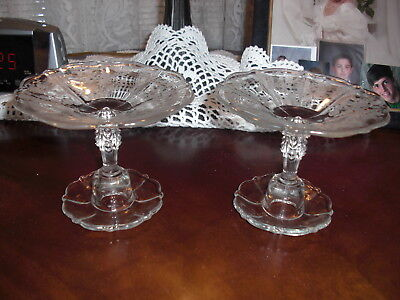 """Pair Cambridge ROSE POINT  4 1/4"""" CANDLESTICKS/ COMPOTES"""