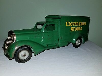 Nice Original Vintage Pressed Steel Metalcraft  CLOVER FARM Art Deco Toy Truck