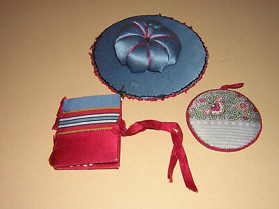 Vintage Lot Silk Sewing Items - Pin Cushion, Pin Keep, Needle Case Book Antique