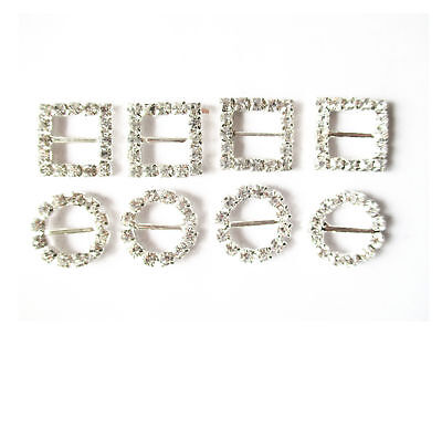 Round or Square Silver Rhinestone Buckles,  Ribbon Slides