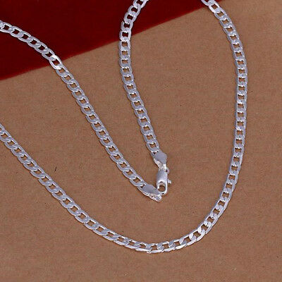 "16""-30"" Mens Womens 925 Sterling Silver 4mm Cuban Curb Link Chain Necklace #N154"