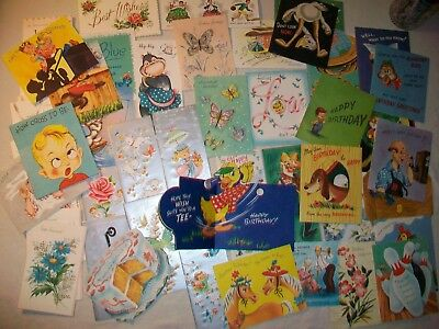 Lot of 59 Vintage unused greeting cards; some pop up; children's 1950's