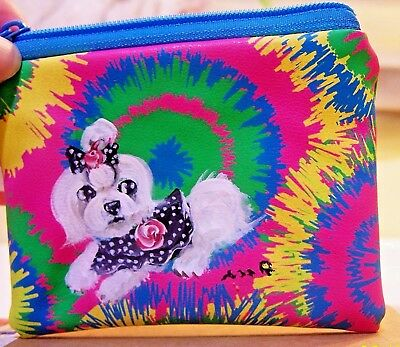 hand painted Maltese on  coin purse keyring