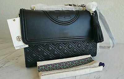 Tory Burch Fleming Convertible Large  Shoulder Bag In Black Nwt New Authentic