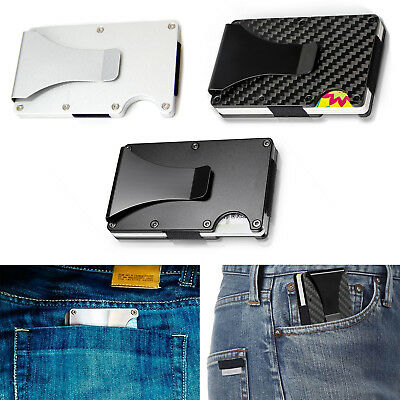 Men Credit Card Holder RFID Blocking Metal Wallet Money Clip Slim Carbon Fiber