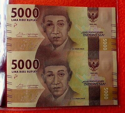 Indonesia uncut banknotes sheets - 5000 Rupiah 2016 x2 - in official folder, COA