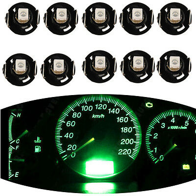 10PCS Car Green T4 / T4.2 WEDGE LED GLOBES 1SMD LED DASH CLUSTER 2018 AU Stock