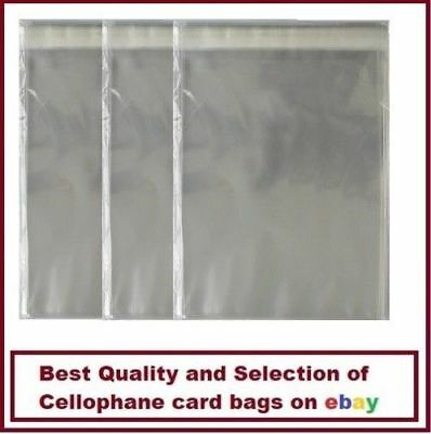 100 - Quality FLORIST Cello Greeting Cellophane Card Bags Self Seal 65mm x 90mm