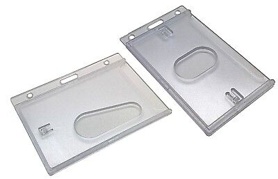 ID Card Holder Rigid Enclosed Clear Plastic, Thumb Hole, Landscape or Portrait