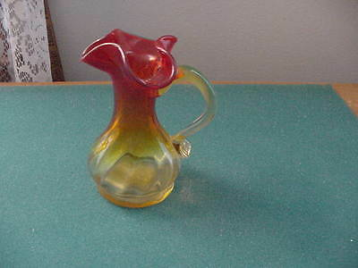 Vintage Amberina  Glass l 5 inch Footed Pitcher