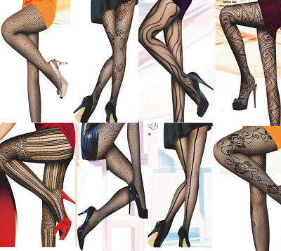 Pattern Tights Floral Stripe Hearts Lace Pantyhose Fishnet Seam Fishnet Office