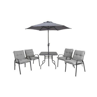 Blooma Cranbrook 6 Piece Patio Set Chairs, Table Parasol, Grey R5FA#