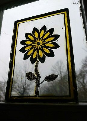 Stained Glass Sunflower Traditional hand painted Kiln Fired like centre roundel.