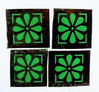 Stained Glass 4 hand painted kiln fired squares Traditional vintage style.
