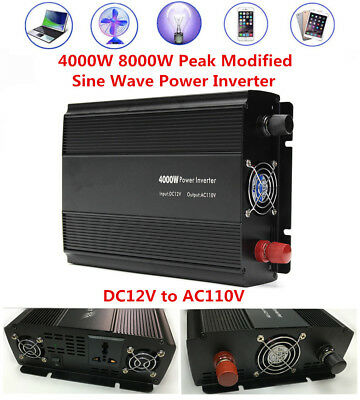 4000W 8000W Peak Modified Sine Wave Car Power Inverter DC12V to AC110V Converter