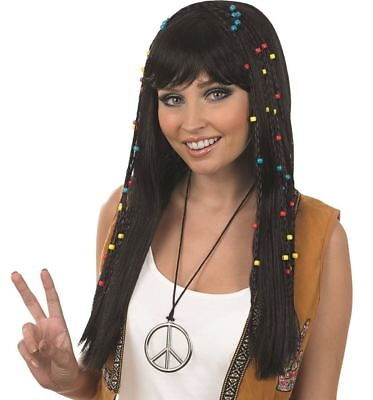 60s 70s Braided Plaits Beaded Black Long Fringe Hippie Hippy Wig Fancy Dress