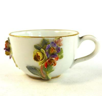 Antique Meissen Porcelain Miniature Cup Encrusted With Applied Flowers