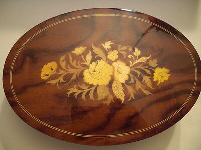REUGE Swiss Movement Music Wooden Lacquered Floral Oval Jewelry Storage Box