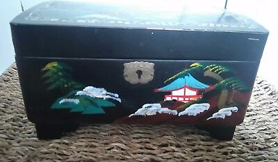 Vintage 1950s/60s black laquer and abalone hand painted Japanese music box